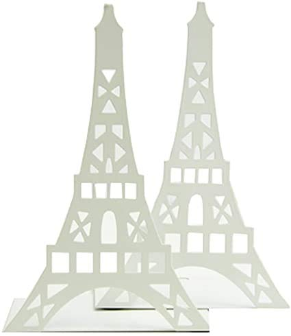 Par de Sujetalibros creativos Paris Torre Eiffel organizador de libros de metal para niños, biblioteca, escuela, oficina, estudio en casa, oficina, decoración, regalo (blanco)