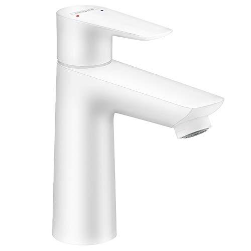 Hansgrohe Talis E Grifo monomando de lavabo 110 con vaciador automático, blanco mate, 71710700