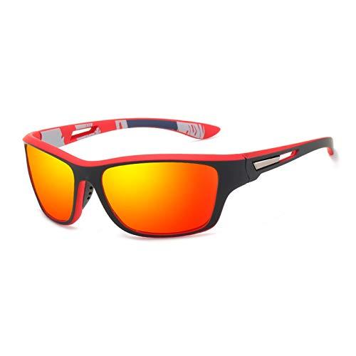 Polarisierte Sportbrille Sonnenbrille Herren Fahrradbrille mit UV400 Schutz für Damen & Herren Autofahren Laufen Radfahren Angeln Golf Sonnenbrille (rot)