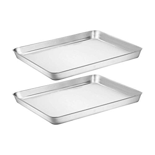 Baking Sheet Cookie Sheet Set of 2, Umite Chef Stainless Steel Baking Pans Tray Professional 12 inch, Non Toxic & Healthy, Mirror Finish & Rust Free, Easy Clean & Dishwasher Safe