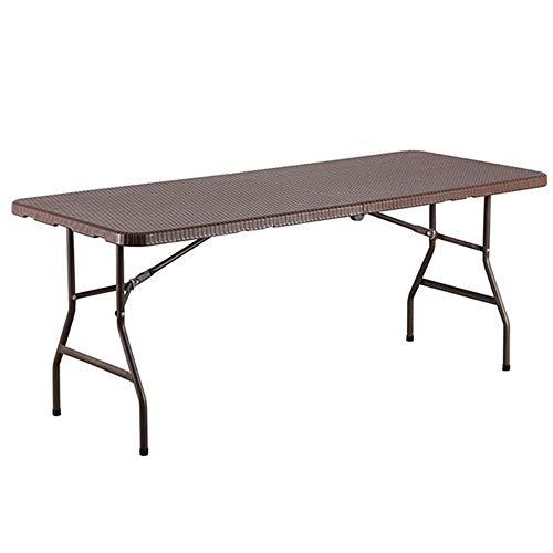 Jardín plegable Mesa, Rattan Efecto mesa de camping, al aire libre mesa auxiliar con la manija, fácil lleva mesas de picnic, for la playa Jardín de picnic, Tavolo Rettangolare por 4-6 Persone Aproxima