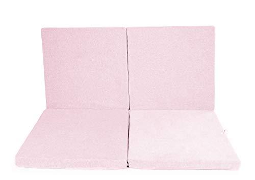 MeowBaby 120x120cm Speelmat Voor Kinderen Vierkante Vloermat Baby-Kindertapijt Opvouwbare Matras Speeltapijt Speeltenten Opvouwbare Mat Licht Roze