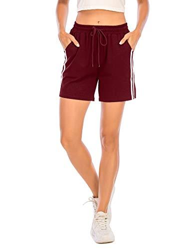 Enjoyoself Damen Kurze Sporthose Sommer Sweatshorts mit Tasche Stretch Jogginghose Gestreift zum Yoga,Relax,Tranning,Weinrot,M