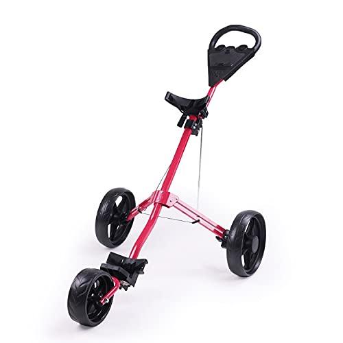 MAORR Carrito Push DE Golf, Carro de Golf de 3 Ruedas Push Pull para Palos de Golf, Carrito de Golf Ligero Plegable con Pelotas de Golf (Color : Red)
