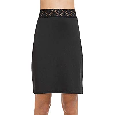 Half Slips for Women Underskirt Short Mini Skirt with Floral Lace Waistband (Lace Waistband Black, Small (US 4-6))