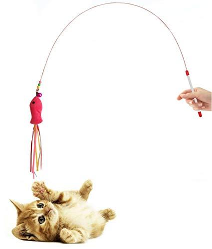 Diawell Canne à pêche pour chat avec clochette -...