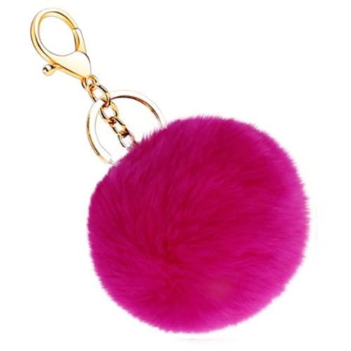 Desconocido ClickAndBuy Llavero pompon piel conejo artificial, bola suave y bonita, accesorio de bolsos, mochilas, coche. Pom pom decorativo con cierre (Fucsia)