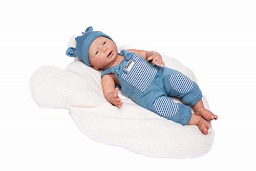 Puppen Guca - Babypuppe David Silikon mit blauem Strampelanzug. 46 cm Reborn, Mehrfarbig (18054)