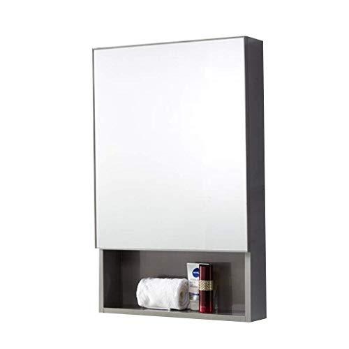 KMMK Espejo de pared, gabinetes de espejo Baño Espejo de baño Toallero de aluminio montado en la pared Estantería Espejo de pared Caja de almacenamiento de casete,Plata,50 * 13 * 80cm