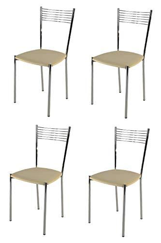 Tommychairs - Set 4 sillas Elegance para Cocina, Comedor, Bar y Restaurante, Estructura en Acero Cromado y Asiento tapizado en Polipiel Color Arena