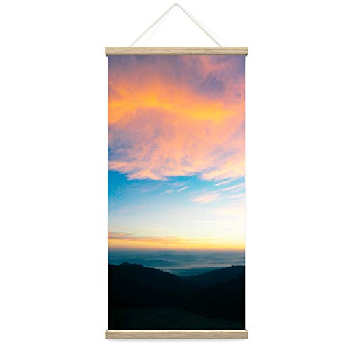"Bestdeal Depot Hanging Poster Mountain Sunset X Coastal Orange Photography Relax/Calm Romantics Sunset Warm Canvas Prints Wall Art for Living Room, Bedroom - 18""x36"""