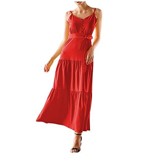 XOXSION Vestido midi para mujer, casual, suelto, sexy, con botones, vendaje de moda, con cordones, cuello en V, sin mangas, vestido superior