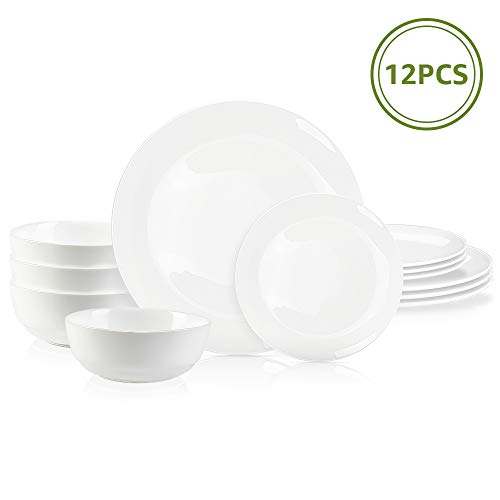 DANMERS 12-Piece Dinnerware Set White Dinner Sets Service for 4, 10.5' Dinners Plates, 7.5' Bread Plates and 5.5' Cereal Bowls Set Break and Crack Resistant (12 PCS-A White)