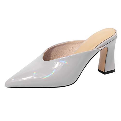 PIXIEFOOT High Heels Mules Damen mit Absatz Geschlossen Lack Slipper Spitz Chunky Heels Blockabsatz Schuhe