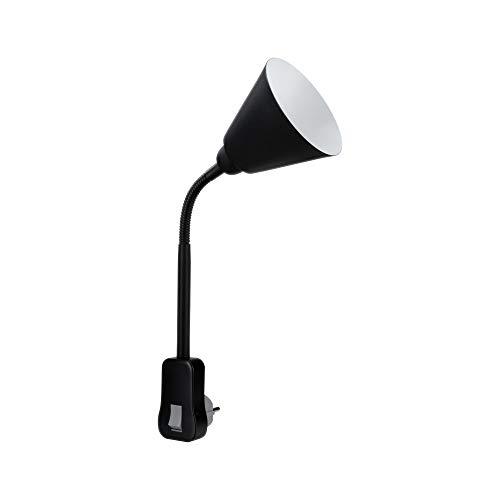 Paulmann 95427 Steckerleuchte Junus mit Flexarm max. 20 Watt Lampe Schwarz Metall, Kunststoff Licht E14