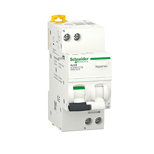 Interruptor diferencial con protección contra sobrecorriente Acti9 ICV40, 1P + N, 40A, 300mA, clase AC, curva C, 7,3 x 3,6 x 8,5 centímetros, color blanco (referencia: A9DE6640)