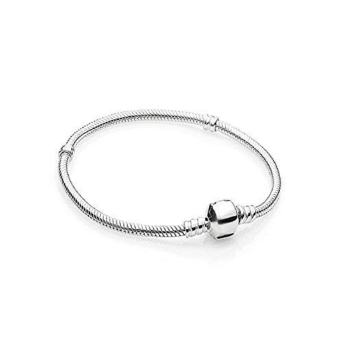 Damen Armband für Charm Beads Perle Anhänger Edelstahl Armreif Pandora style Charms kompatibel Modell A-925 Silber 18cm