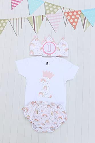 Cumpleaños bebé corona de tela camiseta nº1 braguita cubrepañal smash cake niña
