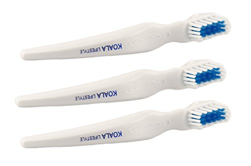 Koala Lifestyle Denture Cleaner Brushes with Covers | Cleaning Toothbrush for Dentures, False Teeth, Night Guards for Teeth Grinding, Dental Devices, and Mouth Guards | 3 Pieces, White / Blue