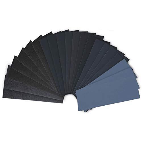 Schleifpapier Set, 28 Stück 120 to 3000 Grit Schleifpapier Sortiment Trocken/Nass Für Automobilschleifen Holzbearbeitung und Holzdrehen 9 x 3.6 Zoll
