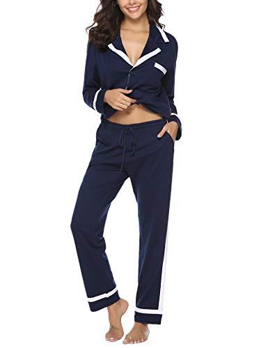 Hawiton Damen Schlafanzug Lang Baumwolle Nachtwäsche mit Hosen Hausanzug Sleepwear mit KnöpfeleisteDunkelblauL