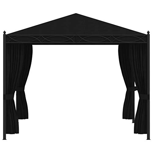 Cenador de jardín de acero, para exteriores, con cortina, cenador de jardín para cenas, barbacoas, reuniones familiares, 3 x 4 m