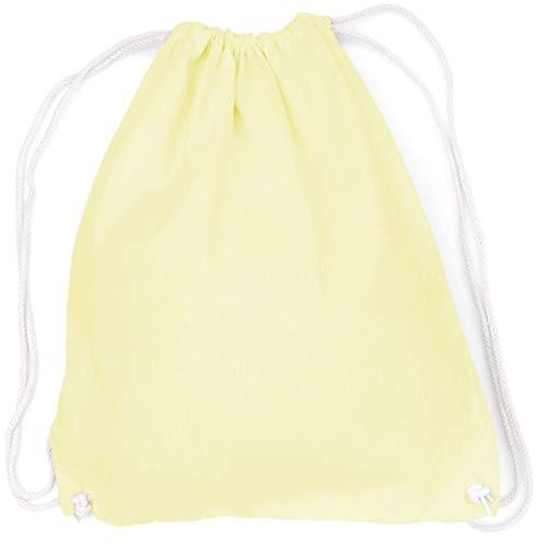 vanVerden Bolsa de deporte de algodón – Blanco/sin estampado en 30 colores – Bolsa de tela con cierre de cordón, Unisex adulto, Limón pastel (amarillo)