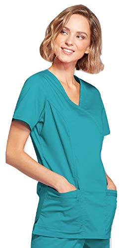 Smart Uniform 1125 Mock Wrap Top (XL, Aquamarin [Teal])
