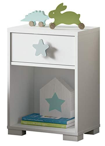 Mesita Noche Shine Blanca Dormitorio Infantil Juvenil 1 cajón Estrella Gris 40x33x56
