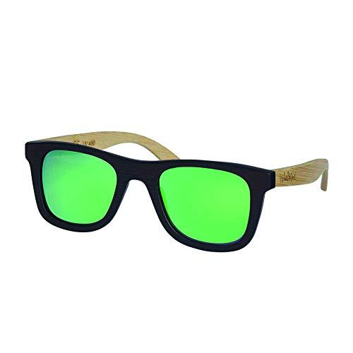 Nebelkind Sonnenbrille aus Holz mit UV-Schutz und Brillenetui aus Bambus Unisex Entspiegelt Dunkelbraun Grün Verspiegelt Hellbraune Bügel One Size