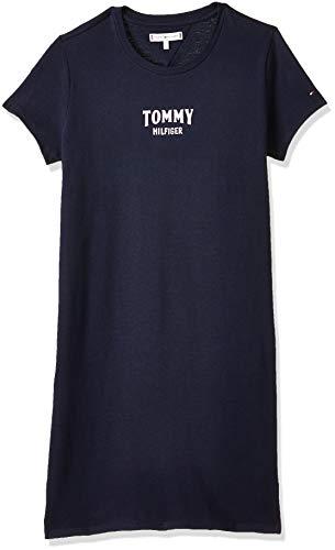 Tommy Hilfiger Mädchen Essential Graphic Knit Dress S/S Kleid, Blau (Black Iris 002), 110 (Herstellergröße: 5)