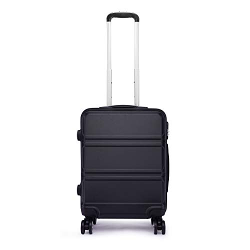 Kono 55cm Hard Shell Cabin Case 38L Carry On Hand Luggage 4 Wheeled Spinner Suitcase with TSA Lock (Black)
