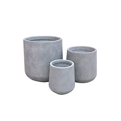Kante RF2015022BCD-C80021 Round (Set of 3 Sizes), Outdoor Indoor Large Planter Pots Containers with Drainage Holes for Patio, Balcony, Backyard, Living Room, Natural, Concrete Grey