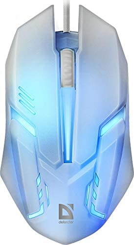 Defender Computer Gaming Mouse, Colour Changing and Wired – Best for PC and Laptop Gamers - 7-Color Backlight - Ribbed Scroll Wheel - Ergonomic Shape - Suitable for Long Working Hours