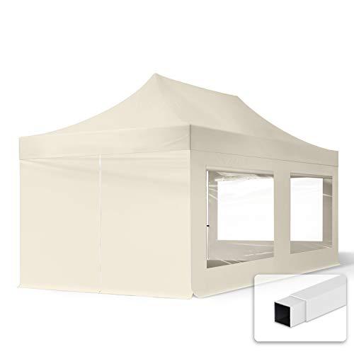 TOOLPORT 3x6m Faltpavillon Pavillon Partyzelt Gazebo Stahl 30mm, 4 Seitenteile, Panoramafenster, WASSERDICHT Creme