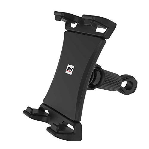 BH Fitness – Soporte para Smartphone y Tablet para Máquinas de Fitness 0190906 – Regulable Entre 4,7 y 13 Pulgadas, Negro