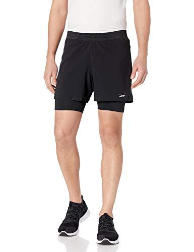 Reebok Herren One Series Epic 2-1 Laufshorts, Herren, Shorts, One Series Running Epic 2-1 Run Short, schwarz, X-Large