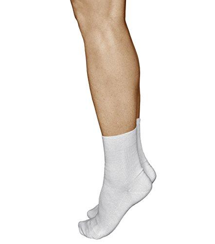 vitsocks Damen bequeme Socken ohne Gummib& Baumwolle (3x PACK) helfen bei Schwellungen, weiß, 35-38