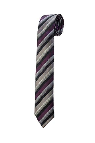 Oh La Belle Cravate Cravate fine slim à rayures violet noir gris DESIGN mariage RTS
