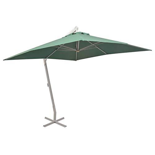 Ausla Parasol Excéntrico de Jardín, Poste de Aluminio, Sombrilla Cuadrada de Jardín con Manivela para Terraza, Jardín 300 x 300 cm, Verde
