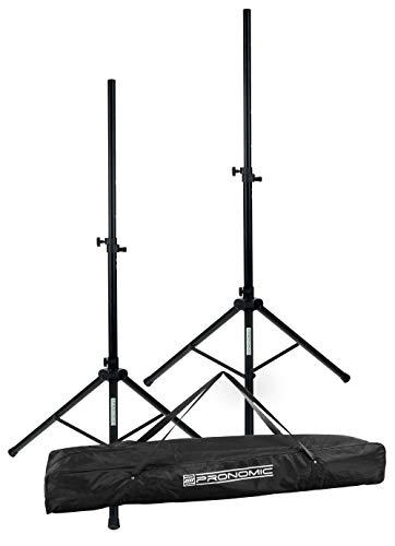 Pronomic SPS-2A Boxenstativ Alu Set - 2 PA Lautsprecherständer aus Aluminium - Boxenständer mit federgelagertem Rastbolzen - ausziehbar von ca. 112-183 cm - inkl. Transporttasche - Schwarz