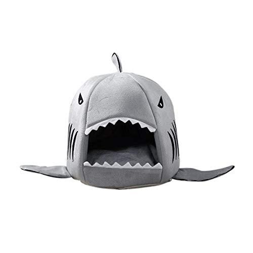Ying cama de tiburón para gato pequeño perro cueva cama, tienda de campaña cama para mascotas, tiburón casa de mascotas, con cojín extraíble, impermeable parte inferior