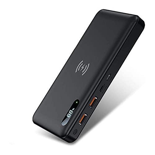 Batería Externa Inalambrica, 30000Mah Power Bank Con 15W Carga Inalambrica & 65W PD QC 3.0 Bidireccional Carga Rápida, Tipo C Cargador Portátil Para Iphone Samsung Android Móviles Y Más,Negro