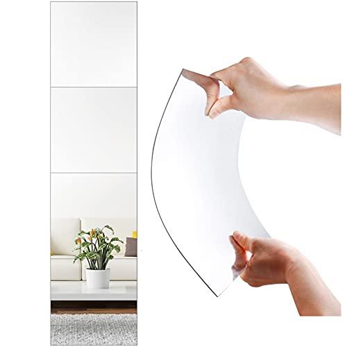 HOMIDIY 全身 貼る鏡 簡単 ガラス 姿見鏡ガラス製 ミラー DIY 鏡 全身 姿見 貼る鏡 ウォールミラー ミラーシール ミラーシート 全身鏡 姿見 鏡 飛散防止 軽量 4枚セット (ラウンド・幅30cm×30cm)