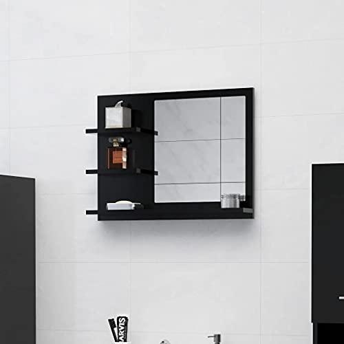 vidaXL Badspiegel mit 3 Ablagen Spiegelregal Wandspiegel Badezimmerspiegel Bad Spiegel Badezimmer Badmöbel Schwarz 60x10,5x45cm Spanplatte