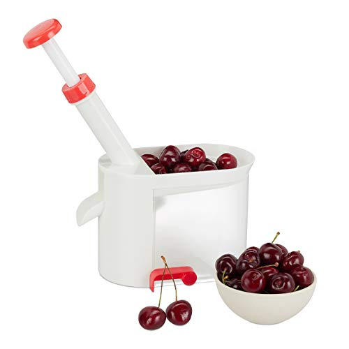 Relaxdays Kirschenentkerner, mit Saugfuß, Auffangbehälter, Kunststoff, rostfreie Edelstahl Klinge, Entsteiner, weiß-rot