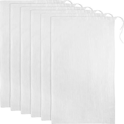 6 Packungen Weich Baumwoll Musselin Tuch oder Taschen, Geeignet für Straining Obst, Butter, Wein, Milchfilter im Haus (50 x 50 cm Musselin Taschen)