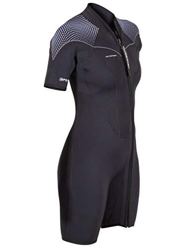 Henderson Women's 3mm Thermoprene Pro Front Zip Shorty Wetsuit, Black/Purple, 22