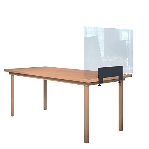 Rulopak Glastrennwand Plexiglas mit Tisch Klemme Metall, Trenner, Trennwand, Spuckschutz, Glas (B 100 cm x H 60,8 cm)