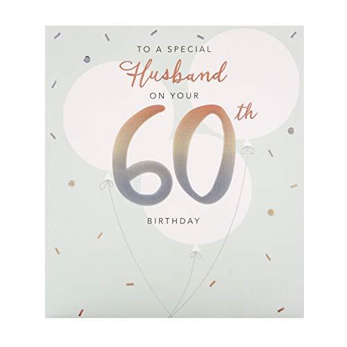 60e verjaardagskaart voor echtgenoot uit de Hallmark Studio - reliëf ontwerp op getextureerd bord